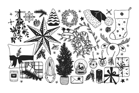 Hand drawn Christmas illustration. Creative ink art work. Actual cozy vector drawing. Winter set of Holidays things, accessories, decoration, food, drinks Stock Vector - 127269219