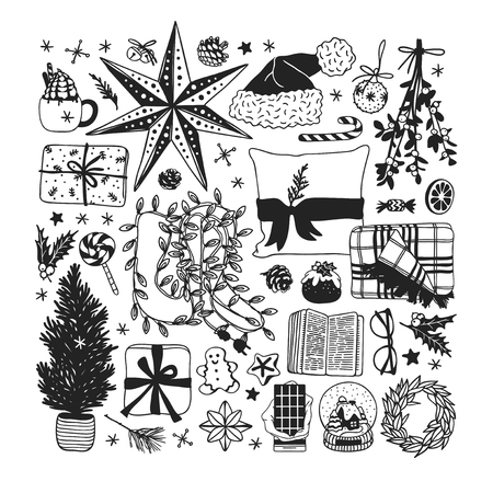 Hand drawn Christmas illustration. Creative ink art work. Actual cozy vector drawing. Winter set of Holidays things, accessories, decoration, food, drinks Stock Vector - 127269220