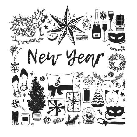 Hand drawn Christmas illustration. Creative ink art work. Actual cozy vector drawing Happy New Year. Winter set of Holidays things, accessories, decoration, food, drinks