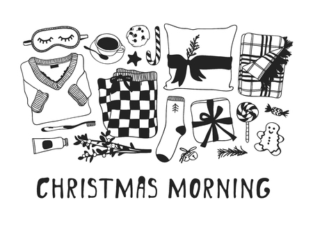 Hand drawn Christmas illustration. Creative ink art work. Actual cozy vector drawing. Winter set of Holidays things, accessories, decoration, food, drinks and text Christmas Morning Illustration