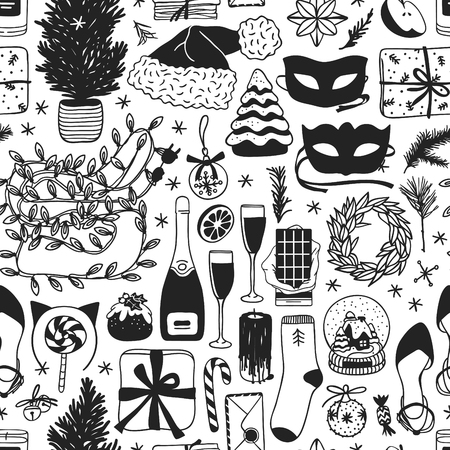 Hand drawn Christmas and New Year illustration. Creative ink art work. Actual cozy vector seamless pattern. Winter set of Holidays things, accessories, decoration, food, drinks