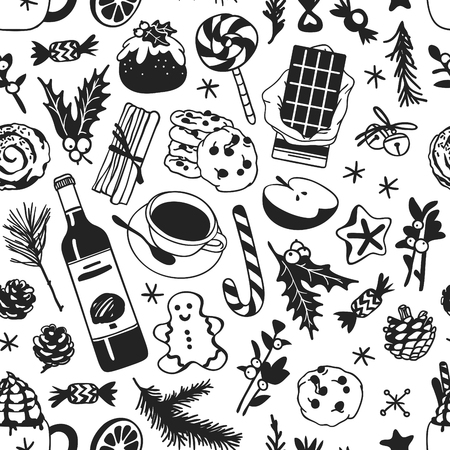 Hand drawn Christmas seamless pattern with food: candy cane, pudding, gingerbread cookies, tea or coffee, latte, bun, chocolate, wine on white background. Creative Holidays ink art work. Actual vector doodle drawing
