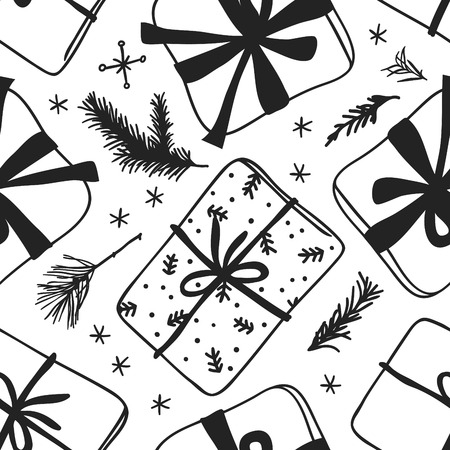 Hand drawn Christmas seamless pattern with gift box on white background. Creative ink art work. Actual vector doodle drawing 일러스트