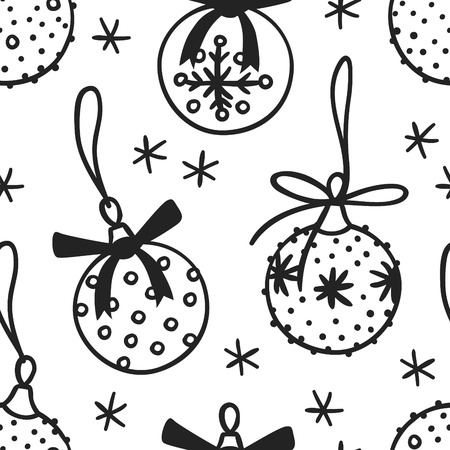 Hand drawn Christmas seamless pattern with toy balls on white background. Creative ink art work. Actual vector doodle drawing decorations