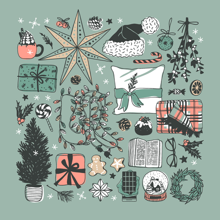 Hand drawn Christmas illustration. Creative ink art work. Actual cozy vector drawing. Winter set of Holidays things, accessories, decoration, food, drinks Stock Vector - 127269237