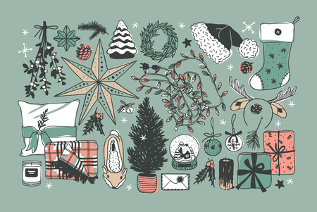 Hand drawn Christmas illustration. Creative ink art work. Actual cozy vector drawing. Winter set of Holidays things, accessories, decoration, food, drinks Illustration