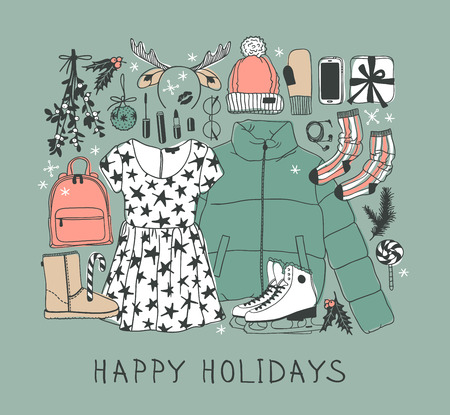 Hand drawn Christmas illustration. Creative ink art work. Actual cozy vector drawing. Winter set of Holidays things, accessories, decoration, food, drinks, wear
