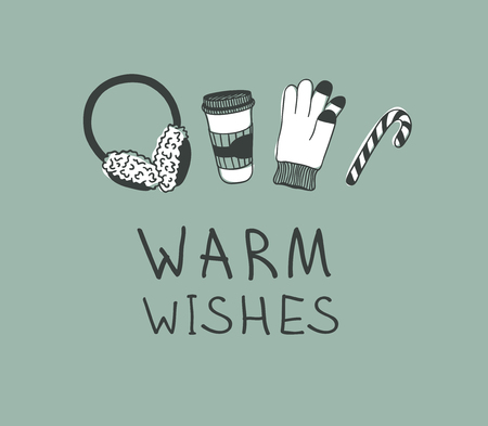 Hand drawn Christmas set for warm on green  background. Creative ink art work. Actual vector doodle drawing and text WARM WISHES