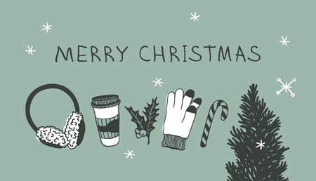 Hand drawn Christmas tree, set for rink on green  background. Creative ink art work. Actual vector doodle drawing and text MERRY CHRISTMAS