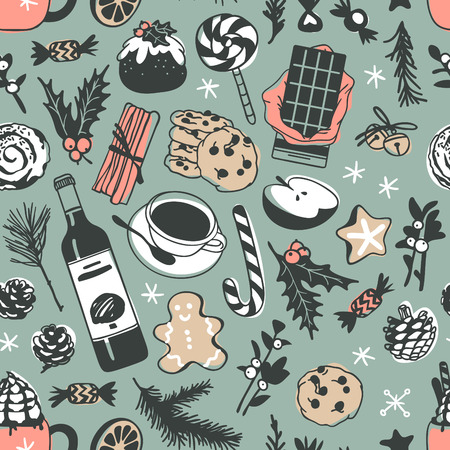 Hand drawn Christmas seamless pattern with food: candy cane, pudding, gingerbread cookies, tea or coffee, latte, bun, chocolate, wine on green background. Creative Holidays ink art work. Actual vector doodle drawing Illustration