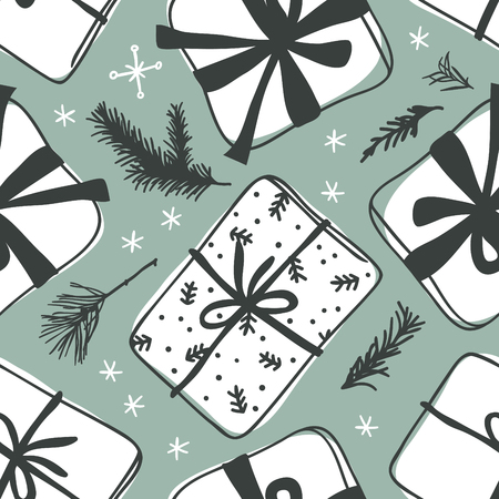 Hand drawn Christmas seamless pattern with gift box on green background. Creative ink art work. Actual vector doodle drawing 일러스트