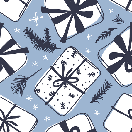 Hand drawn Christmas seamless pattern with gift box on blue background. Creative ink art work. Actual vector doodle drawing