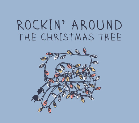 Hand drawn Christmas garland on blue background. Creative ink art work. Actual vector doodle drawing decorations and text ROCKIN' AROUND THE CHRISTMAS TREE Illustration