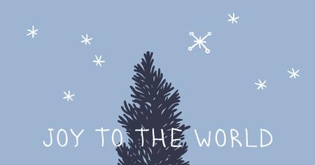 Hand drawn Christmas tree on blue background. Creative ink art work. Actual vector doodle drawing decorations and text JOY TO THE WORLD
