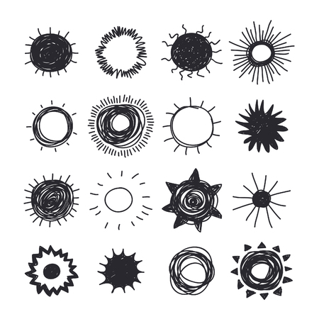 Hand drawn Illustration Sun. Doodle style element set. Black Solar System Objects on white background