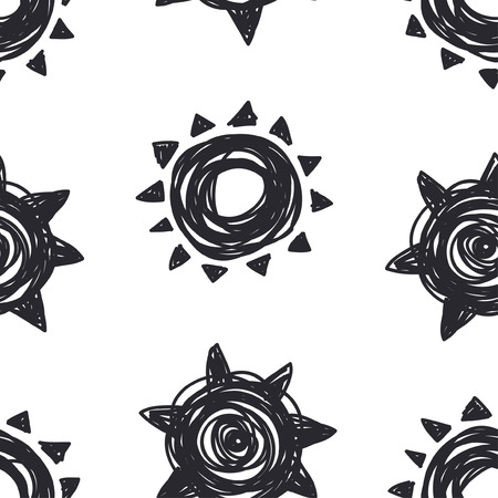 Hand drawn Illustration Sun. Doodle style seamless pattern. Black and white Solar System Objects