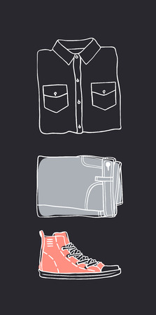 Hand drawn set of Jeans Wear. Fashion vector background. Actual illustration Denim Outfit. Original doodle style drawing. Creative ink art work Stock fotó - 116782009