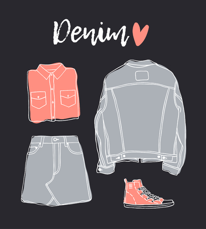 Hand drawn set of Jeans Wear. Fashion vector background. Actual illustration Denim Outfit. Original doodle style drawing. Creative ink art work Banque d'images - 116782018