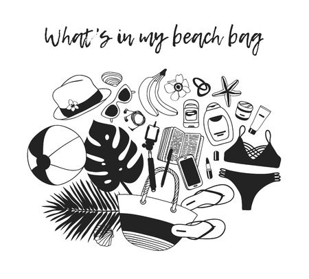 Hand drawn Fashion Illustration What is in my bag. Vector picture Summer casual objects. Artistic Tropical doddle drawing. Creative ink art work