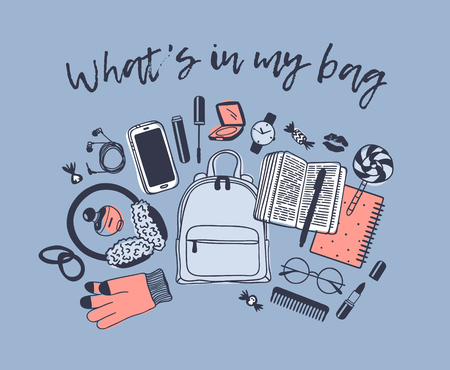 Hand drawn Fashion Illustration What is in my bag. Vector picture casual objects on blue background. Artistic doddle drawing. Creative ink art work Illustration