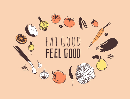 Hand drawn illustration fruits, veggies and quote. Creative ink art work. Actual vector drawing. Kitchen set and text EAT GOOD, FEEL GOOD 向量圖像