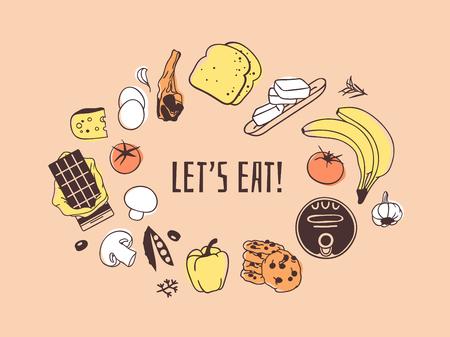 Handgezeichnete Illustration Essen und Zitat. Kreative Tinte Kunstwerk. Tatsächliche Vektorzeichnung. Küchenset und Text LET'S EAT