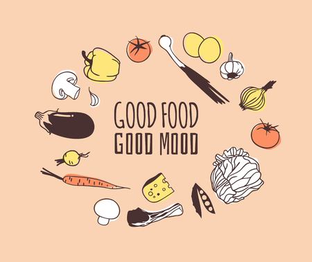 Hand drawn illustration food and quote. Creative ink art work. Actual vector drawing. Kitchen set and text GOOD FOOD, GOOD MOOD