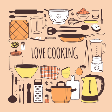 Hand drawn illustration cooking tools, dishes, food and quote. Creative ink art work. Actual vector drawing. Kitchen set and text LOVE COOKING Illustration