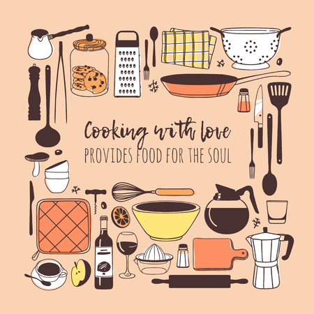 Hand drawn illustration cooking tools, dishes, food and quote. Creative ink art work. Actual vector drawing. Kitchen set and text COOKING WITH LOVE PROVIDES FOOD FOR THE SOUL Stock fotó - 126942152