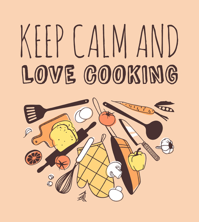 Hand drawn illustration cooking tools and dishes and quote. Creative ink art work. Actual vector drawing. Kitchen set and text KEEP CALM AND LOVE COOKING
