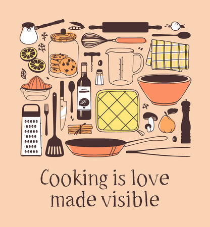 Hand drawn illustration cooking tools, dishes, food and quote. Creative ink art work. Actual vector drawing. Kitchen set and text COOKING IS LOVE MADE VISIBLE Stock Illustratie