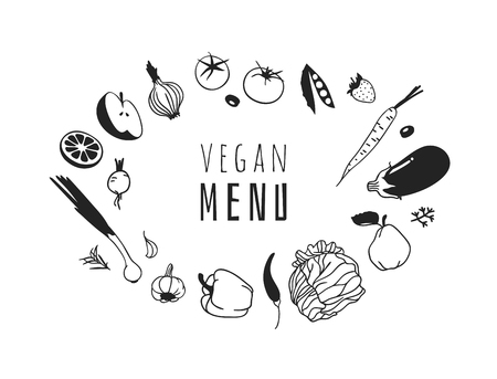 Hand drawn illustration fruits, veggies and quote. Creative ink art work. Actual vector drawing. Kitchen set and text VEGAN MENU