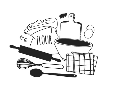 Hand drawn illustration cooking tools, dishes and food. Creative ink art work. Actual vector drawing. Kitchen set Ilustracja