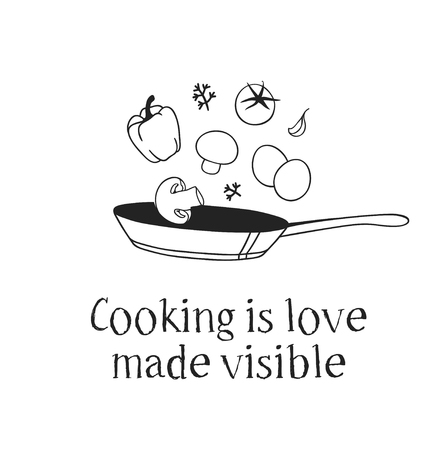 Hand drawn illustration pan, food and quote. Creative ink art work. Actual vector drawing. Kitchen set and text COOKING IS LOVE MADE VISIBLE Stock Illustratie