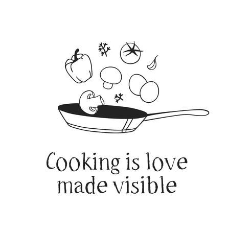Pan, cibo e citazione disegnati a mano dell'illustrazione. Opera d'arte creativa dell'inchiostro. Disegno vettoriale effettivo. Set da cucina e testo CUCINARE È L'AMORE RESO VISIBILE Vettoriali