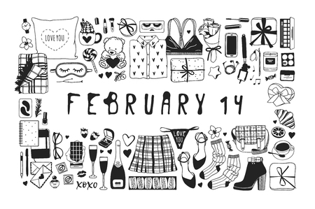 Hand drawn Fashion Illustration Romantic Objects and quote. Creative ink art work. Actual vector drawing of Holiday things. Happy Valentine's Day set and text FEBRUARY 14