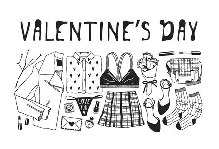 Hand drawn Fashion Illustration Romantic Objects and quote. Creative ink art work. Actual vector drawing of Holiday things. Happy Valentine's Day set and text VALENTINE'S DAY Illustration