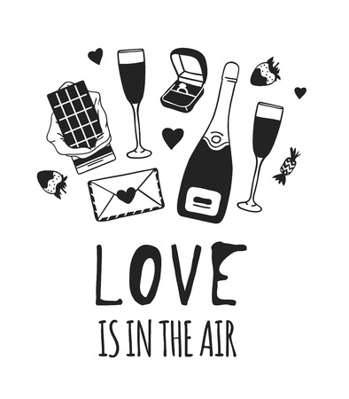 Hand drawn Fashion Illustration Romantic Objects and quote. Creative ink art work. Actual vector drawing of Holiday things. Happy Valentines Day set and text LOVE IS IN THE AIR  イラスト・ベクター素材