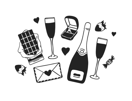 Hand drawn Fashion Illustration Romantic Objects isolated on white background. Creative ink art work. Actual vector drawing of Holiday things. Happy Valentine's Day set Banque d'images - 126240025