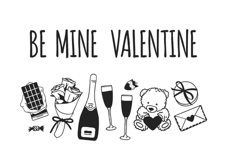 Hand drawn Fashion Illustration Romantic Objects and quote. Creative ink art work. Actual vector drawing of Holiday things. Happy Valentine's Day set and text BE MINE VALENTINE Banque d'images - 126240028