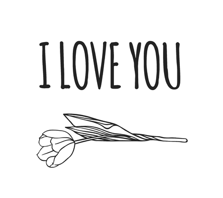 Hand drawn Fashion Illustration Romantic tulip and quote. Creative ink art work. Actual vector drawing of Holiday things. Happy Valentine's Day set and text I LOVE YOU Illustration