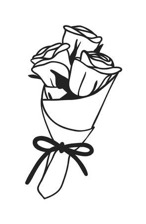 Hand drawn Fashion Illustration Romantic roses isolated on white background. Creative ink art work. Actual vector drawing of Holiday things. Happy Valentines Day set  イラスト・ベクター素材