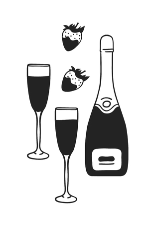 Hand drawn Fashion Illustration Romantic Objects isolated on white background. Creative ink art work. Actual vector drawing of Holiday things: champagne, strawberry. Happy Valentine's Day set Banque d'images - 126240035