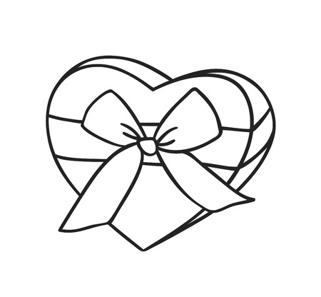 Hand drawn Fashion Illustration Romantic gift box isolated on white background. Creative ink art work. Actual vector drawing of Holiday things. Happy Valentines Day set Ilustração