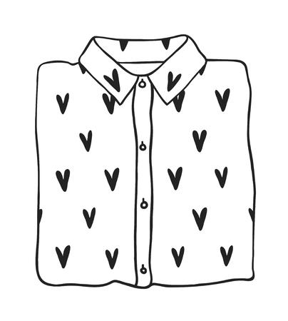 Chemise romantique d'illustration de mode dessinée à la main isolée sur fond blanc. Oeuvre d'art à l'encre créative. Dessin vectoriel réel de choses de vacances. Ensemble de la Saint-Valentin heureuse