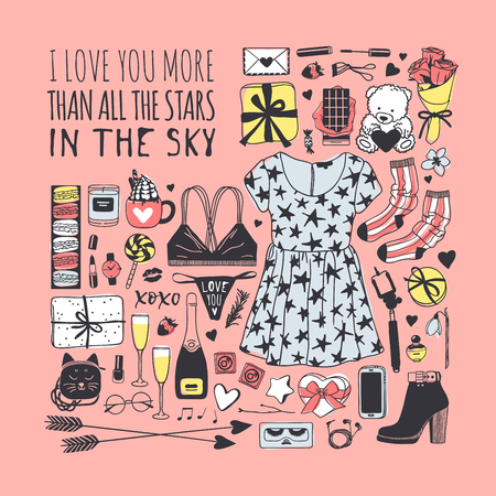Hand drawn Fashion Illustration Romantic Objects and quote. Creative ink art work. Actual vector drawing of Holiday things. Happy Valentines Day set and text I LOVE YOU MORE THAN ALL THE STARS IN THE