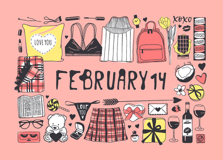 Hand drawn Fashion Illustration Romantic Objects and quote. Creative ink art work. Actual vector drawing of Holiday things. Happy Valentine's Day set and text FEBRUARY 14 Banque d'images - 126244912