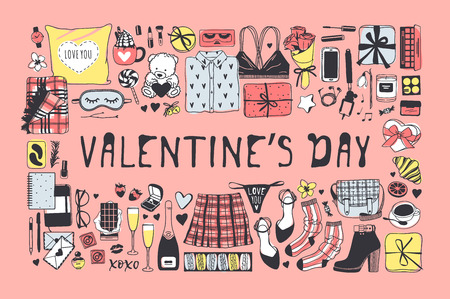 Hand drawn Fashion Illustration Romantic Objects and quote. Creative ink art work. Actual vector drawing of Holiday things. Happy Valentine's Day set and text VALENTINE'S DAY Ilustração
