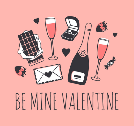 Hand drawn Fashion Illustration Romantic Objects and quote. Creative ink art work. Actual vector drawing of Holiday things. Happy Valentine's Day set and text BE MINE VALENTINE Banque d'images - 116782664