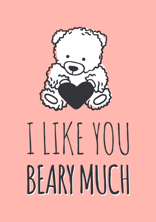 Hand drawn Fashion Illustration Romantic bear and quote. Creative ink art work. Actual vector drawing of Holiday things. Happy Valentines Day set and text I LIKE YOU BEARY MUCH 일러스트